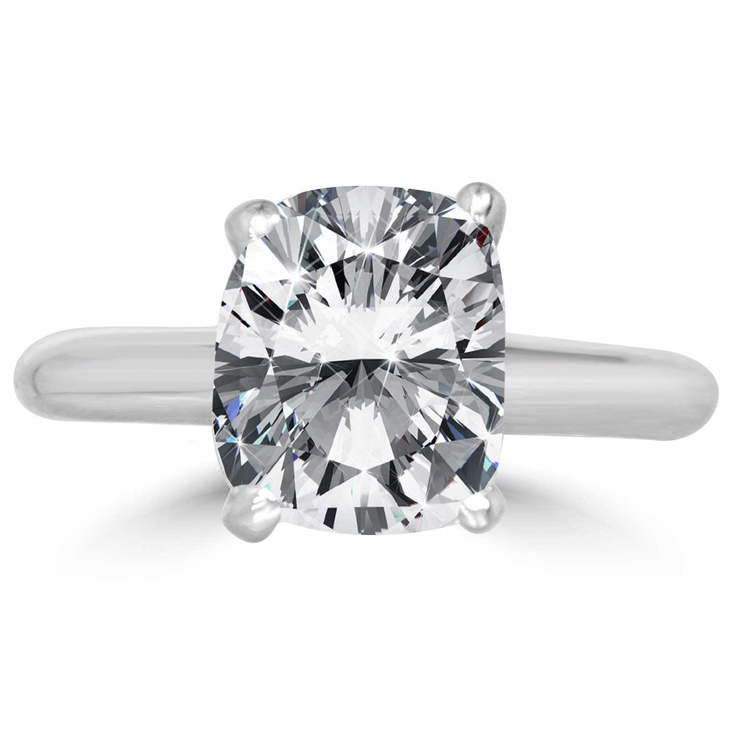 3 54 Ct Cushion Cut Diamond Engagement Ring SI1 D 14K White Gold