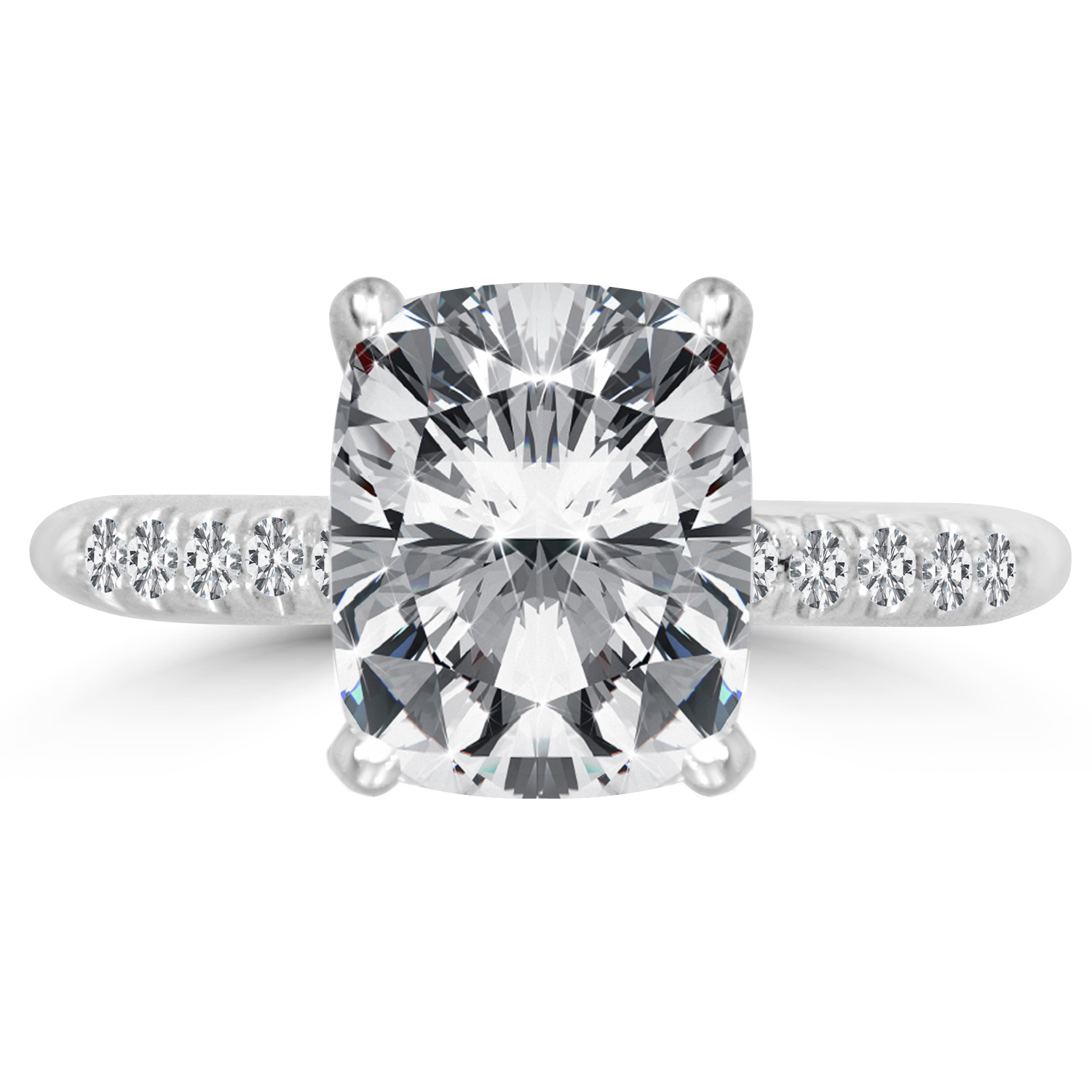 3 2 Ct Cushion Cut Diamond Engagement Ring VS2 F 14K White Gold