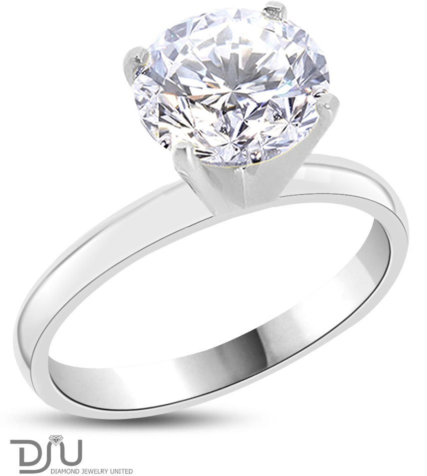 1.87 Ct Round Cut Diamond Engagement Ring Enhanced SI1/I