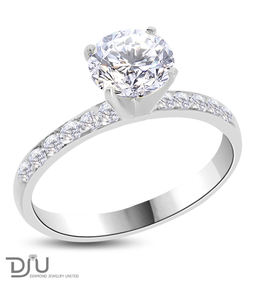 certified ct e vs1 round diamond engagement ring 14k