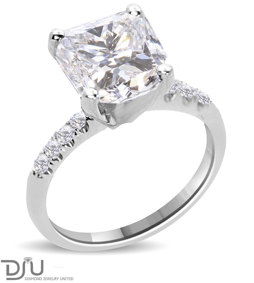 2 32 Ct Princess Cut Diamond Engagement Ring Enhanced VS2 E 14K White Gold