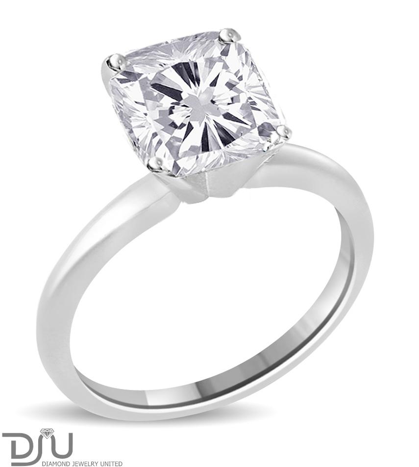 3 54 Ct Cushion Cut Diamond Engagement Ring Enhanced SI1 D 14K White Gold