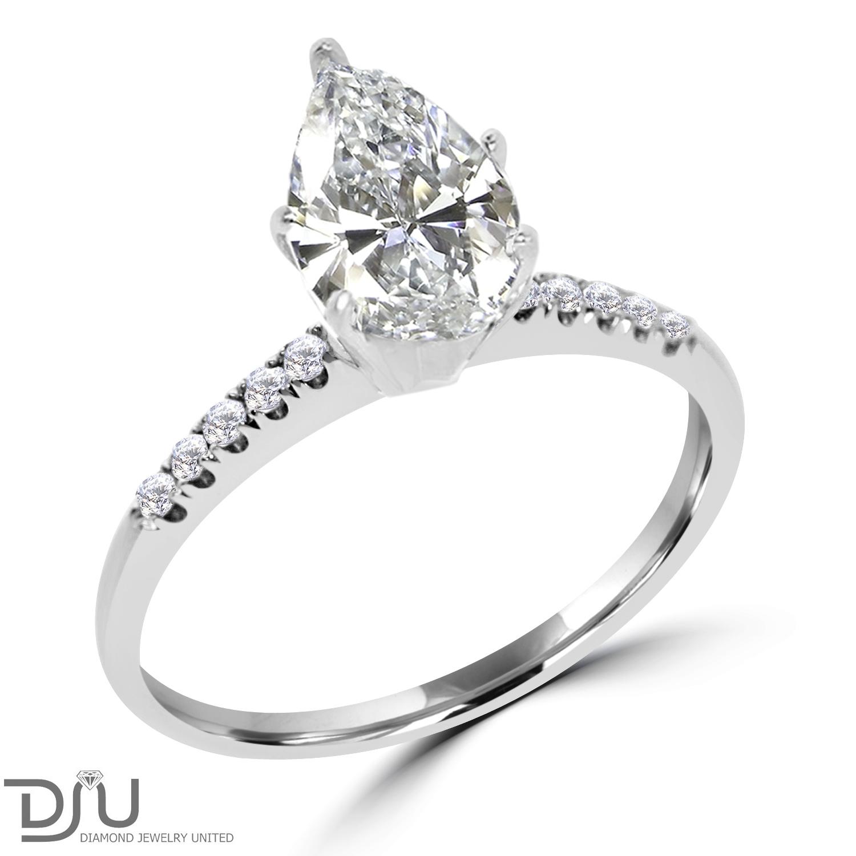 1 14 CT Pear CUT Diamond Engagement Ring D SI1 14K White Gold Enhanced