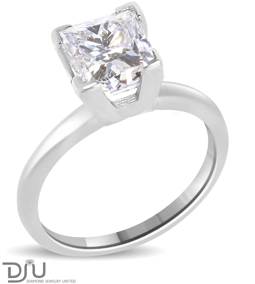 2 04 Ct Princess Cut Diamond Engagement Ring Enhanced VS2 D 14K White Gold