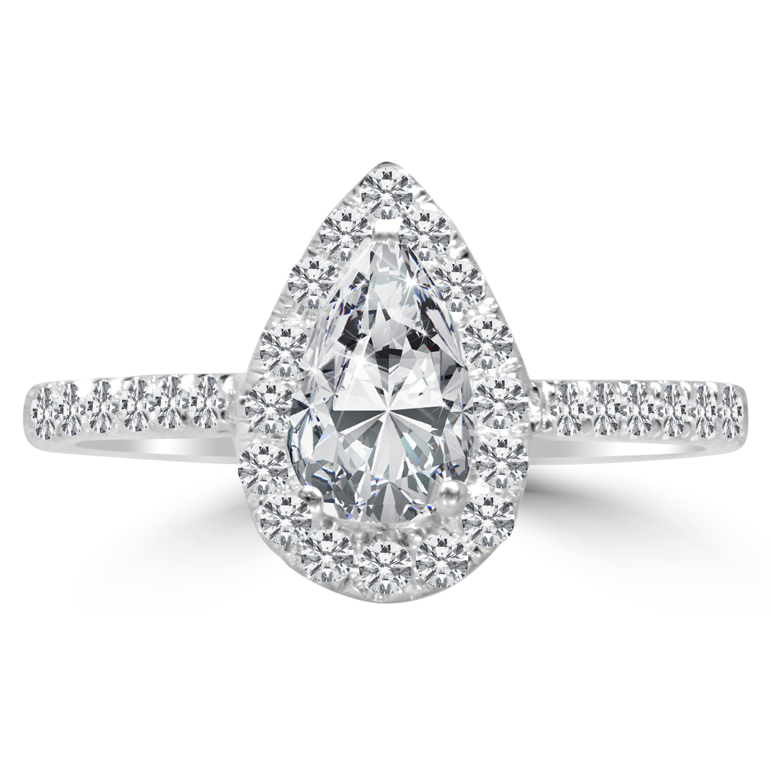 1 Ct Pear Cut Diamond Engagement Ring VS2 D 14K White Gold