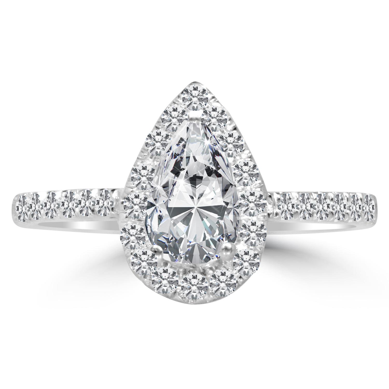 1 Ct Pear Cut Diamond Engagement Ring VS2 D 14K White Gold