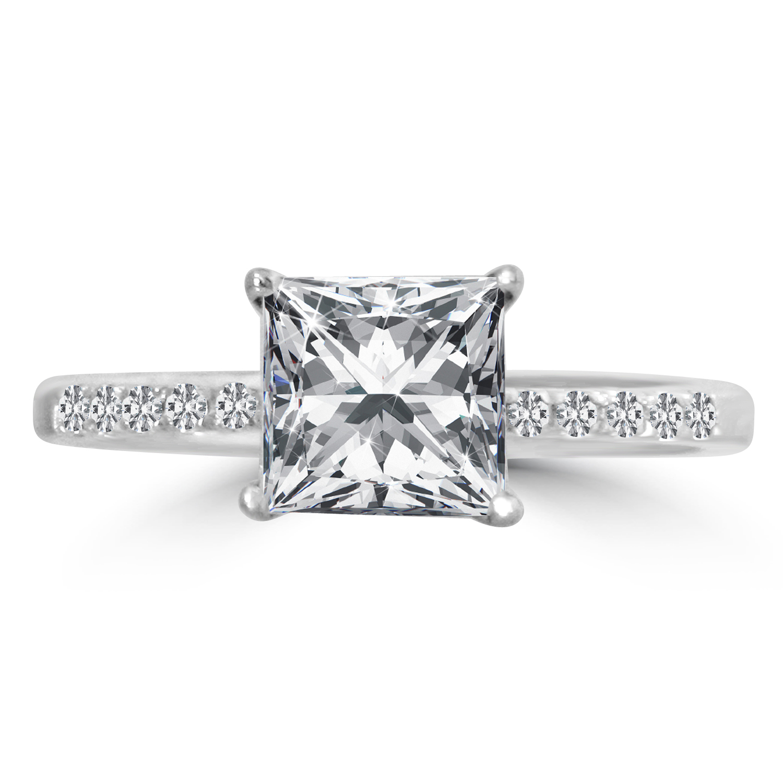 2 Ct Princess Cut Diamond Engagement Ring Enhanced VS2 E 14K White Gold