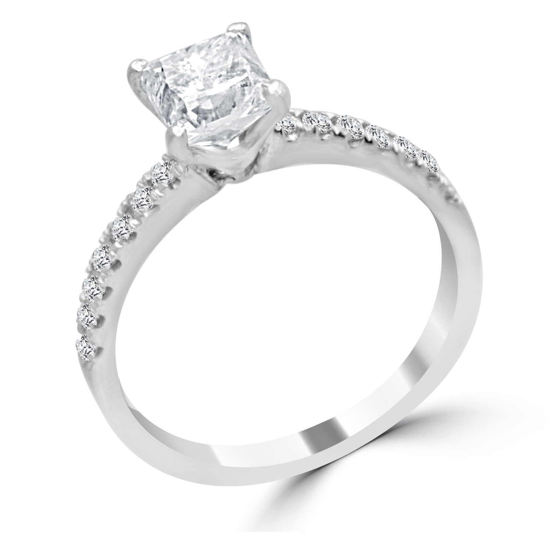 1 2 Ct Princess Cut Diamond Engagement Ring VS2 D 14K White Gold