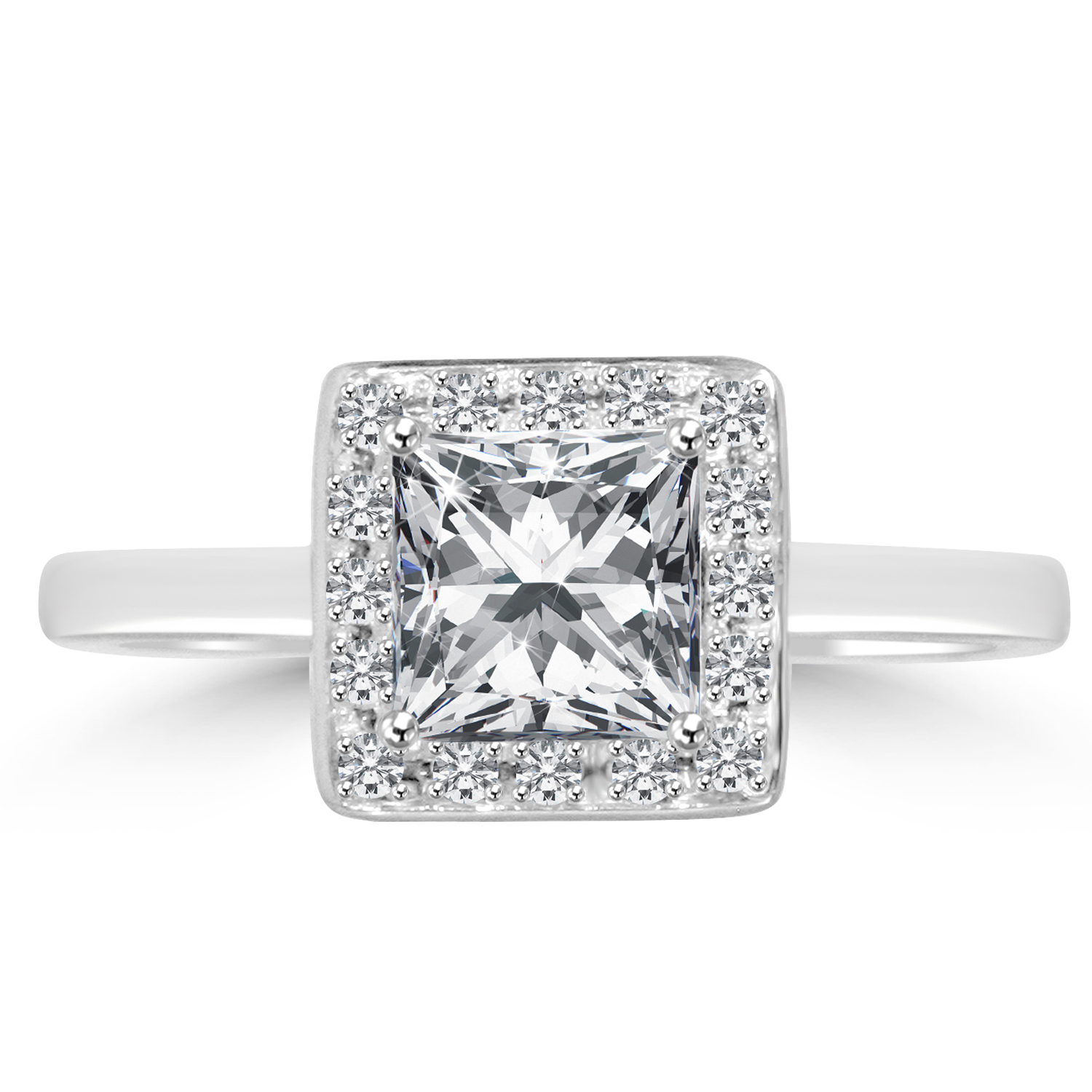 1 15 ct princess cut engagement ring vvs2 f 14k