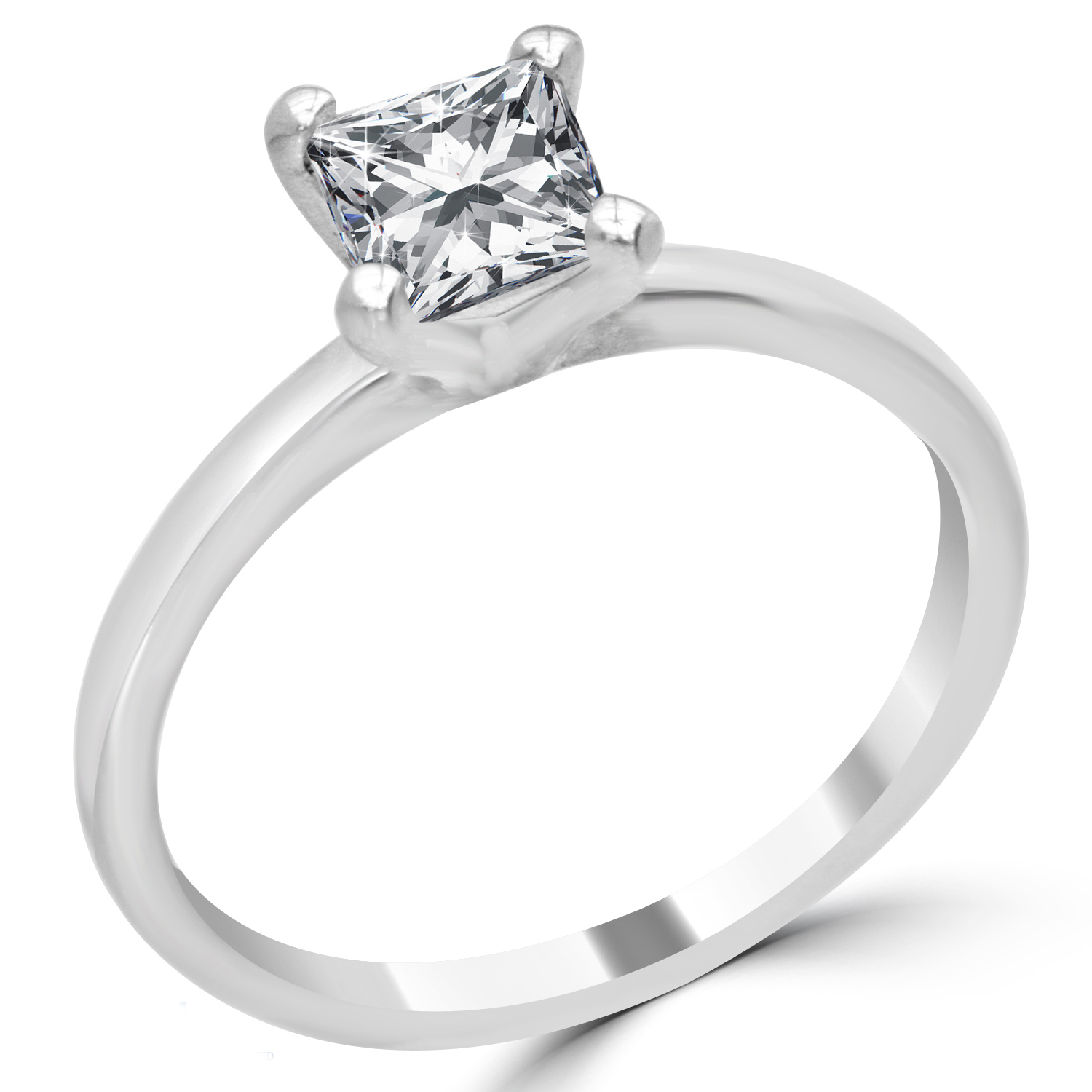 1 ct princess cut engagement ring vs2 d 14k white