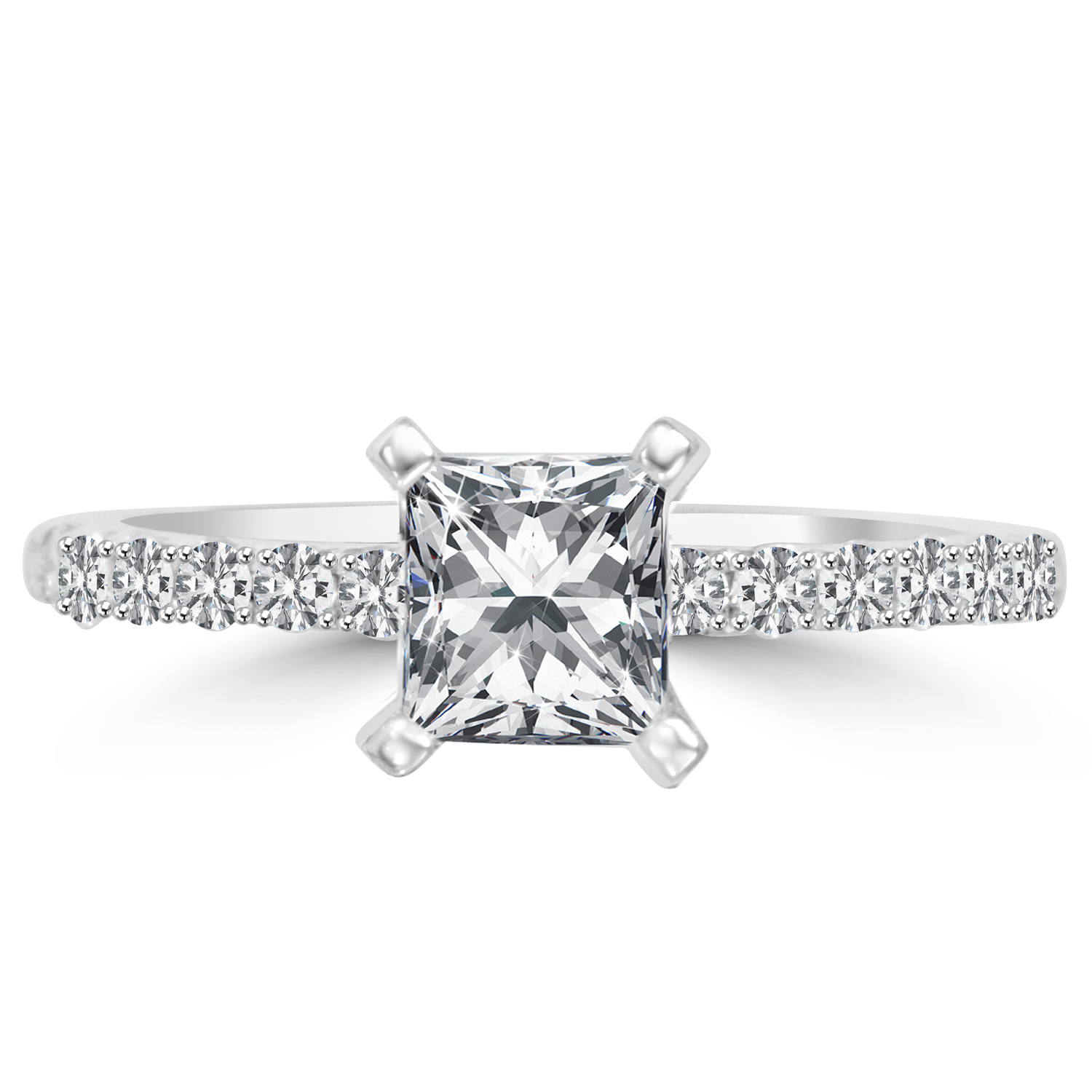 1 ct princess cut engagement ring vs1 e 14k white