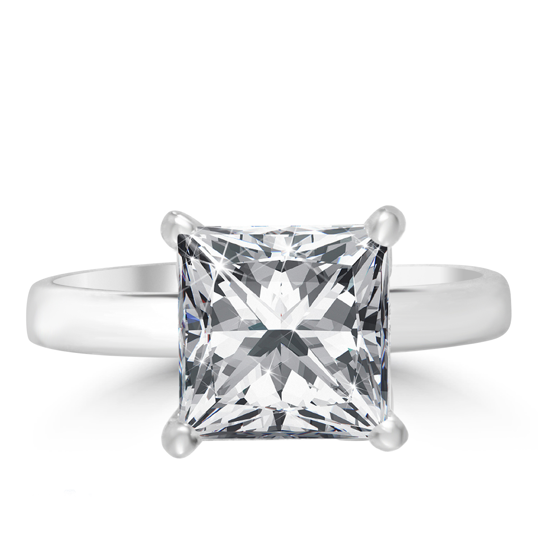 2 67 Ct Princess Cut Diamond Engagement Ring SI2 D 14K White Gold