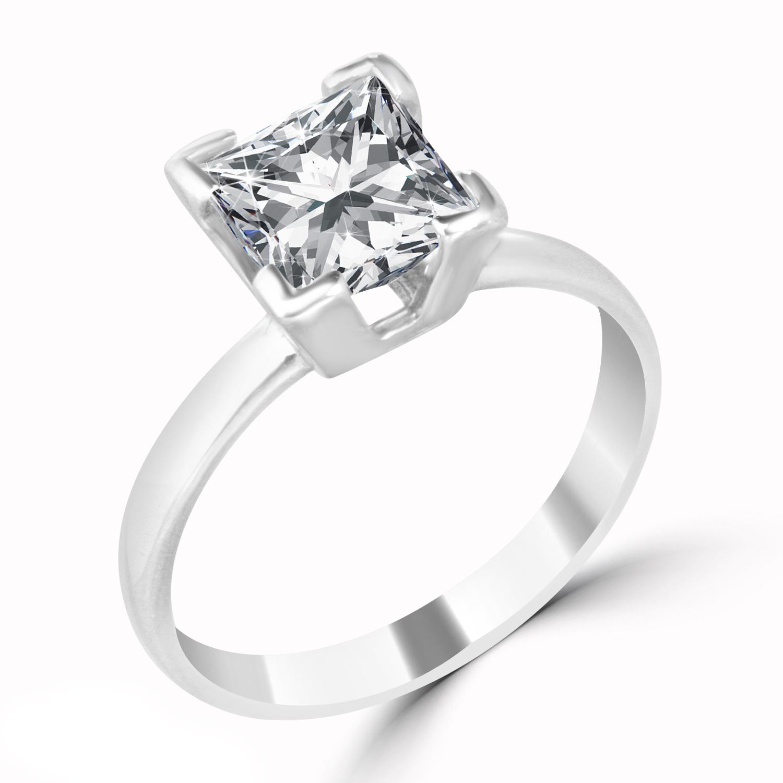 2 14 Ct Princess Cut Diamond Engagement Ring Enhanced VS2 F 14K White Gold
