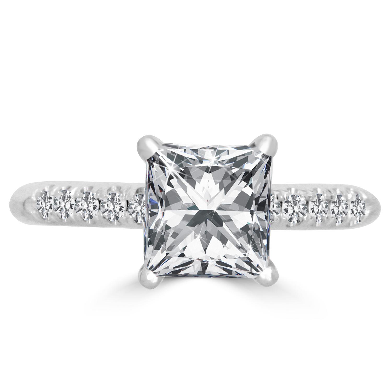 Diamond Wedding Band 1 5 Ct Tw Princess Cut 14k White Gold: 1.5 Ct Princess Cut VS2/E Diamond Engagement Ring 14K