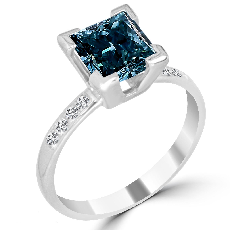 2 19 Ct Princess Cut I1 BLUE Diamond Engagement Ring 14K White Gold