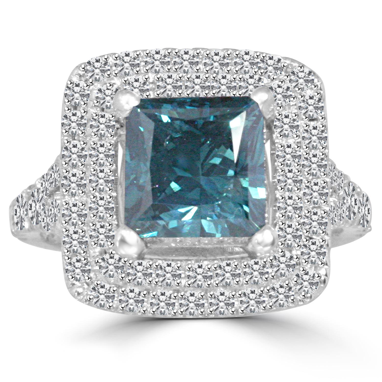4 2 Ct Princess Cut Diamond Engagement Ring VS2 BLUE 14K White Gold