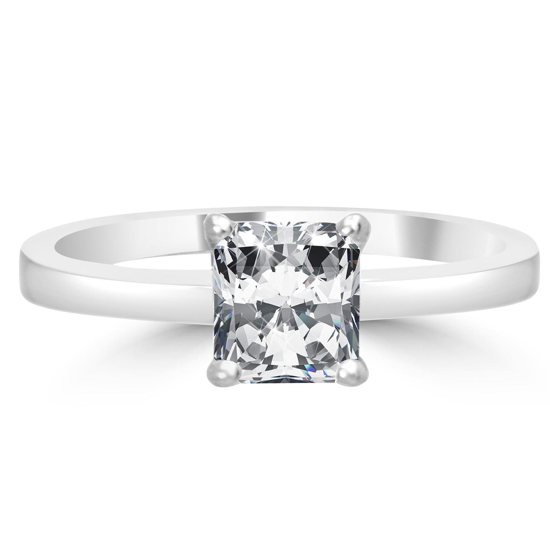 Radiant Reflections Diamond Ring 1 Ct Tw 14k White Gold: 1.02 Ct Radiant Cut VS1/H Diamond Engagement Ring 14K