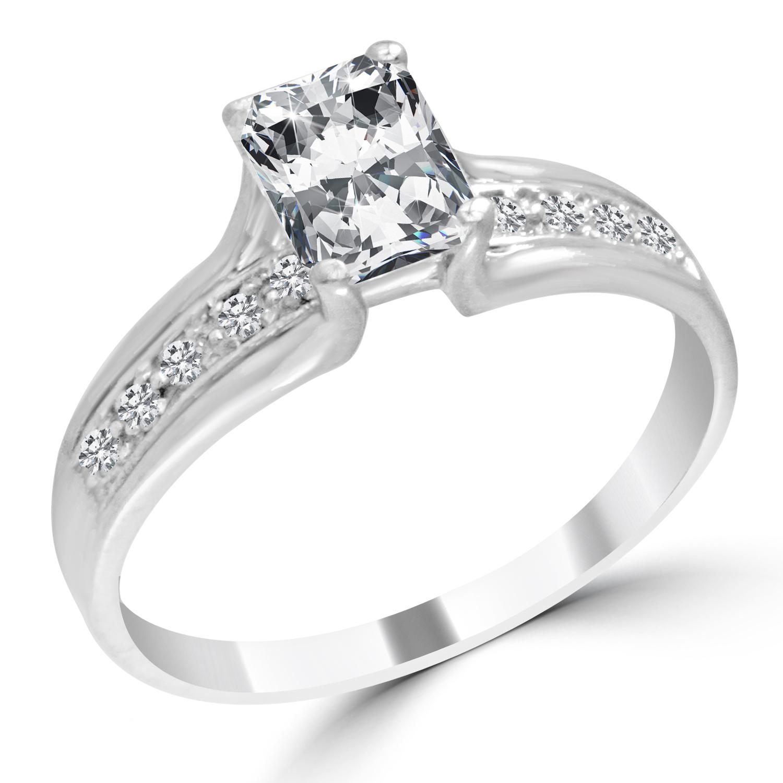 Radiant Reflections Diamond Ring 1 Ct Tw 14k White Gold: 1.12 Ct Radiant Cut Diamond Engagement Ring VS2/E 14K