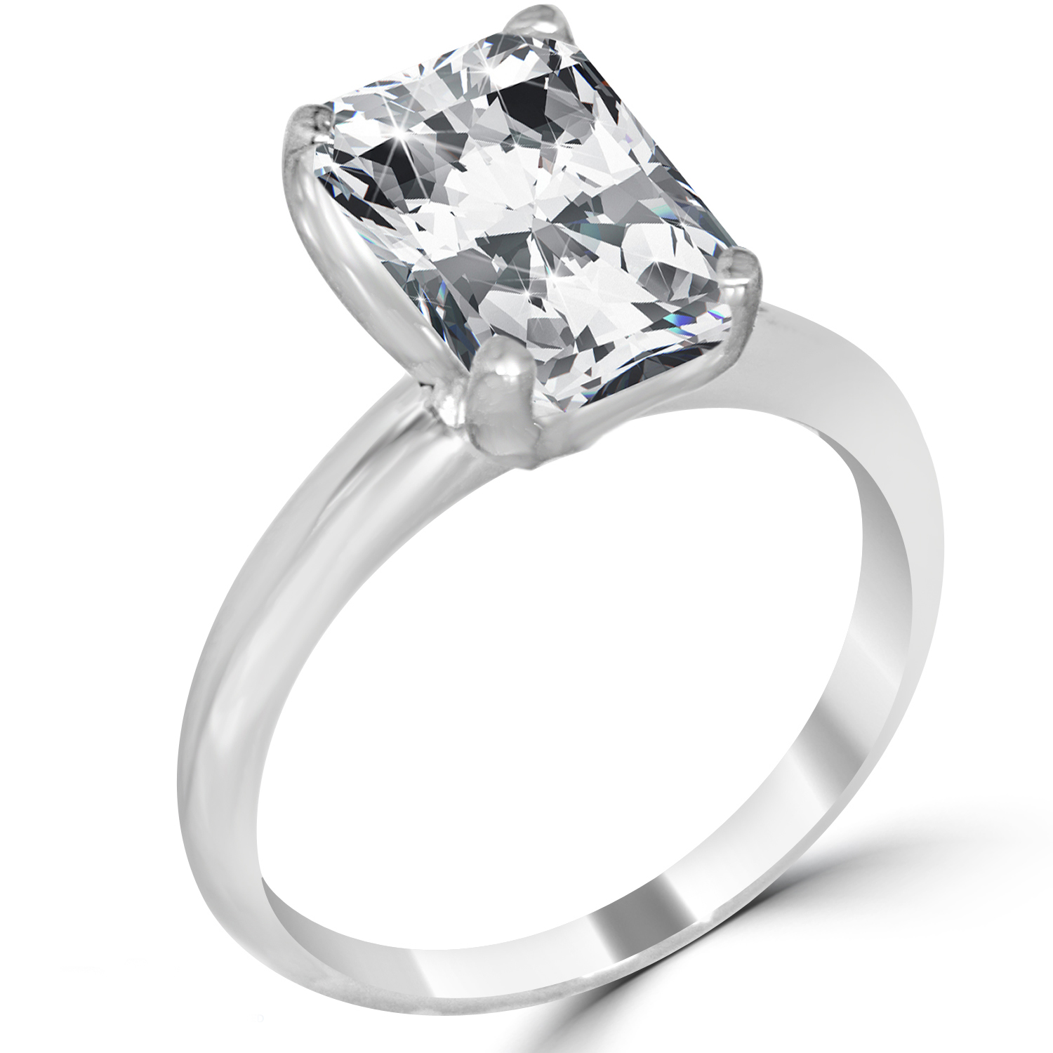 3.31 Ct Radiant Cut Diamond Engagement Ring SI1/D 14K