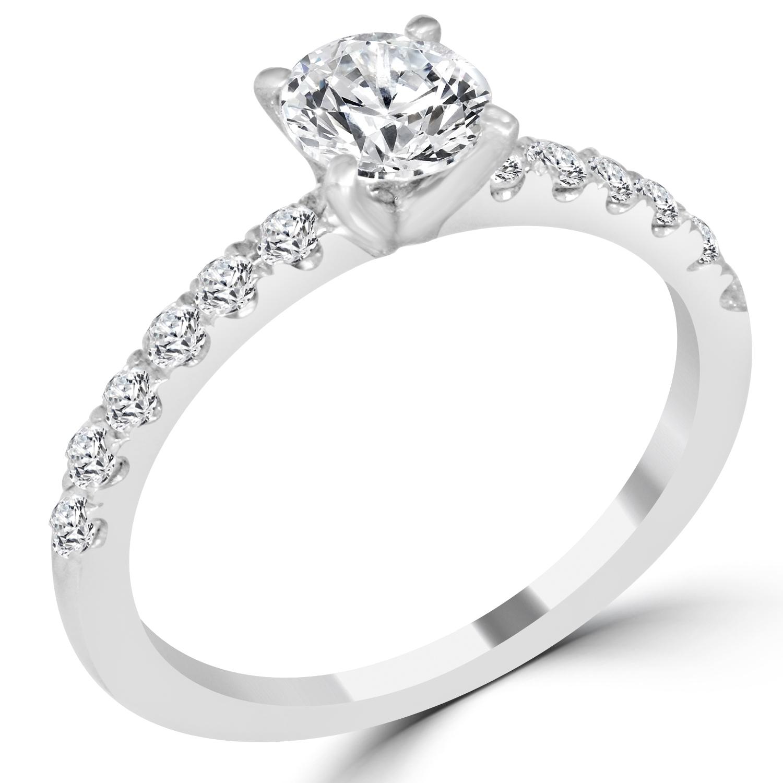 ct round cut vs1 f diamond engagement ring 14k white. Black Bedroom Furniture Sets. Home Design Ideas