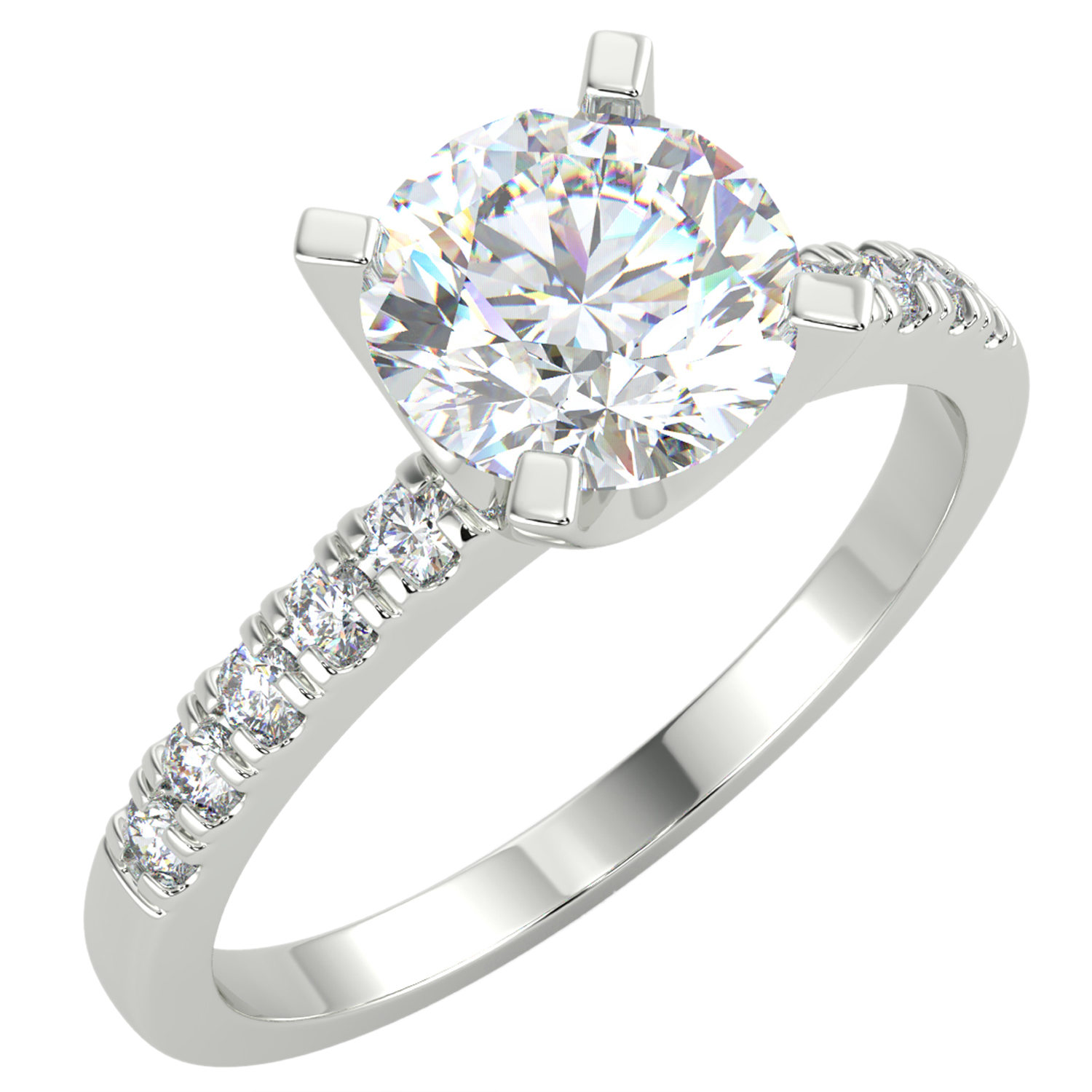 5549202f97d96 1.15 Ct Round Cut VS1/G Solitaire Pave Diamond Engagement Ring 14K ...