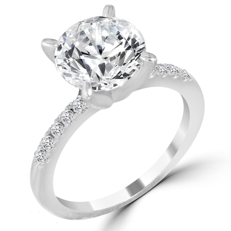 3 16 Ct Round Cut Vvs2 G Diamond Engagement Ring 14k White
