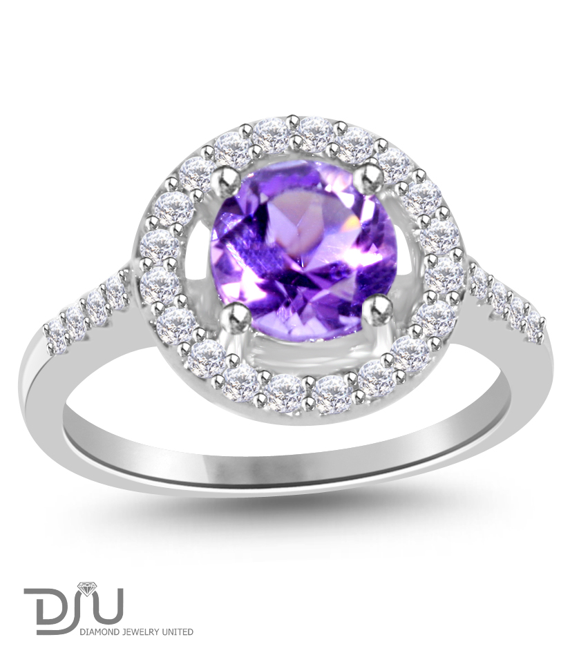 1.5 ct Purple Amethyst Round Gemstone Ring set in 925 Silver