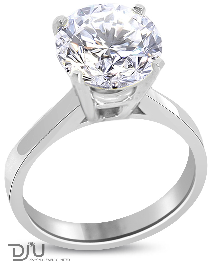 round cut diamond engagement ring g si1 14k white. Black Bedroom Furniture Sets. Home Design Ideas