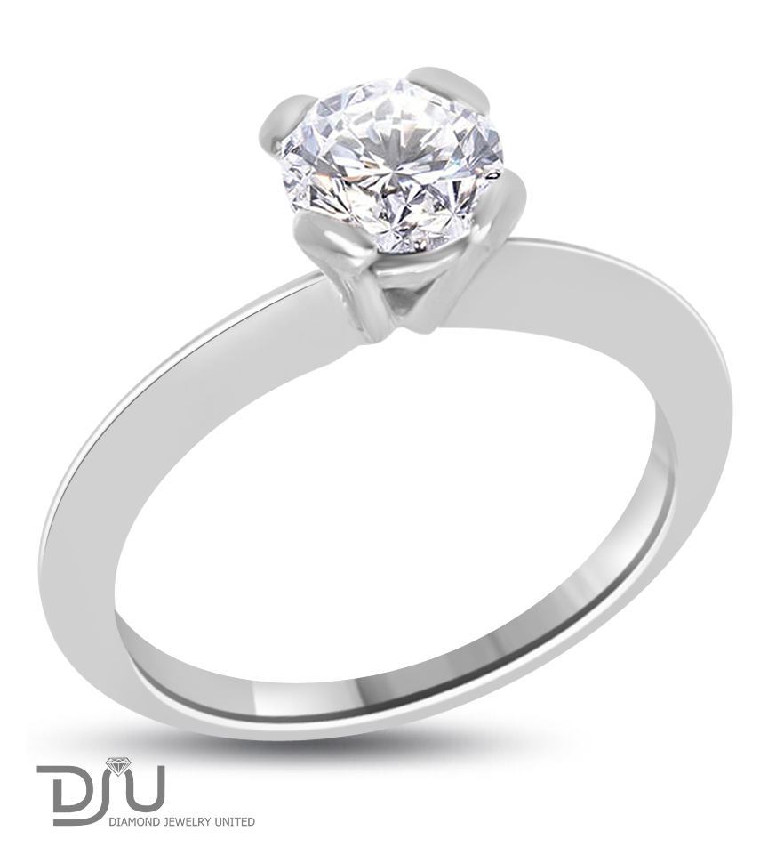 1.04 ct F/VS2 Round Brilliant Diamond Solitaire Ring 14 k w gold
