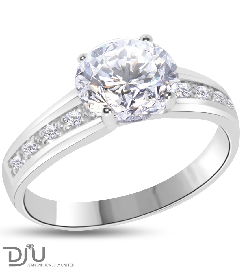 ct e vvs2 round diamond engagement ring 14k white gold