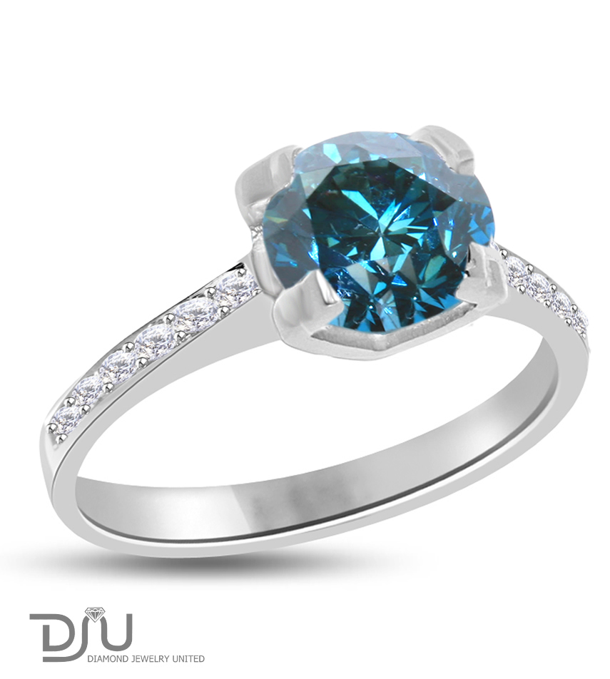 1.51 ct Blue VS1 Round Diamond Solitaire Ring 14 k w gold